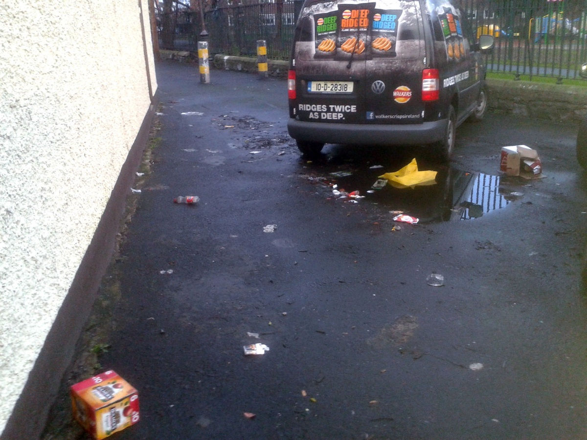 "Submitter says ""entire area is strewn with litter & is rarely cleaned"" -> Ropewalk Place, by Ringsend Pk, D4. Jan 27 2014"