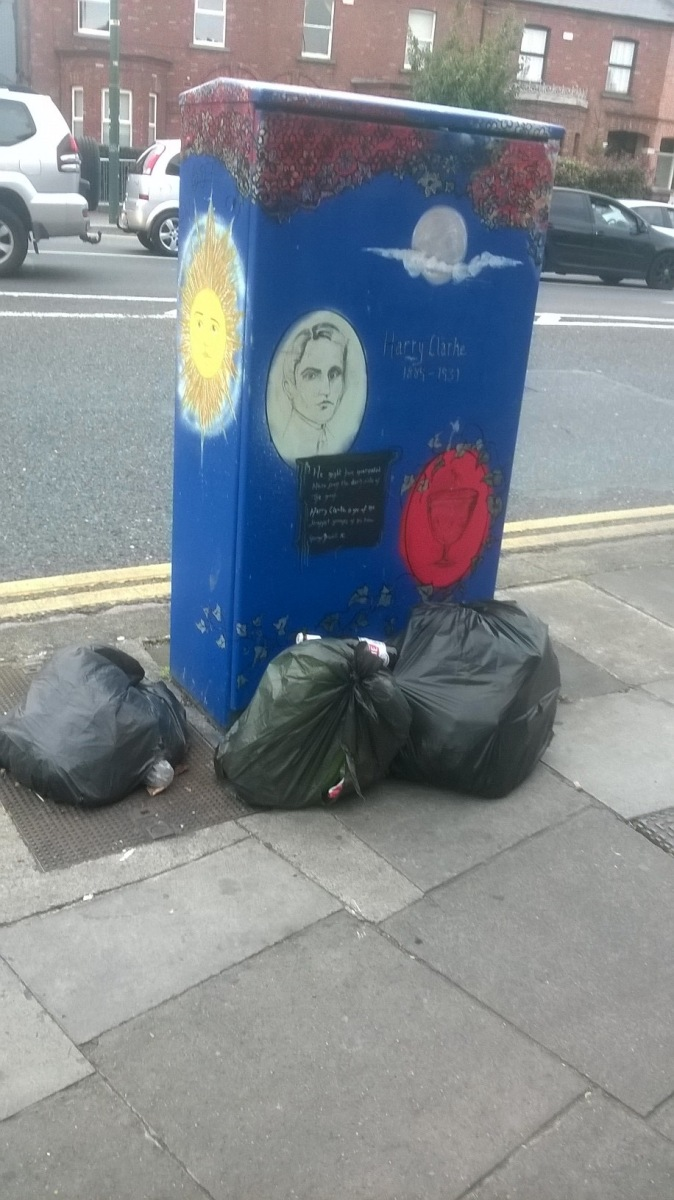 Some nice public art..and some less nice public dumping -> St Peter's Church, D7. Sep 23 2017