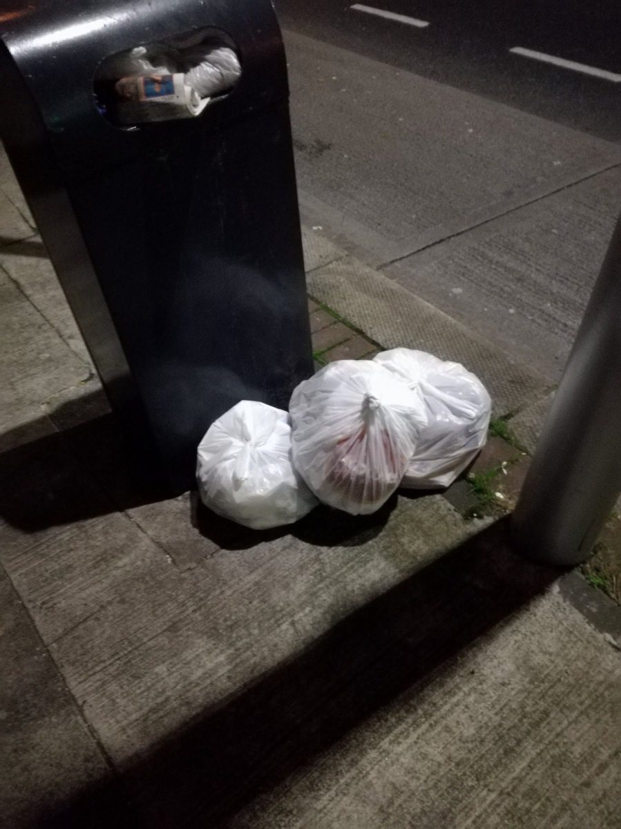 Submitter personally saw the dumper chucking the stuff -> Near 132 North Strand Rd, D3. Oct 22 2017