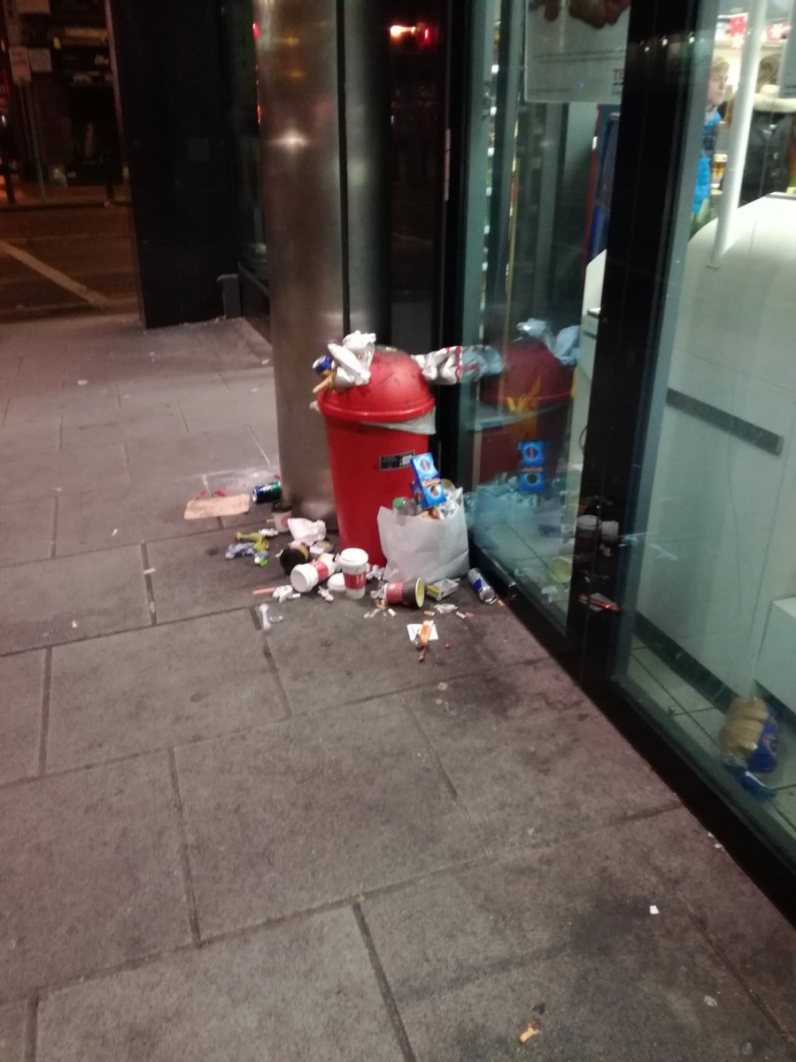 Outside Tesco.Sub says they need to mind their bin better -> Pearse St, D2. Nov 15 2017